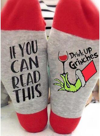 Letter/Print/Grinch Comfortabel/Kerstmis/Crew sokken Sokken