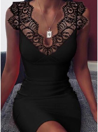 Solide Mouwloos Bodycon Boven de knie Zwart jurkje/Sexy Jurken