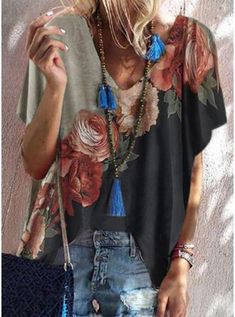 Color Block Bloemen Print V-hals Korte Mouwen T-shirts