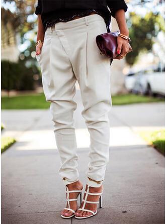 Zakken Shirred Grote maat Lang Casual Elegant Solide Broeken