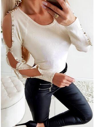 Solide Met Kralen Cold Shoulder Lange Mouwen Casual Breiwerk Overhemd