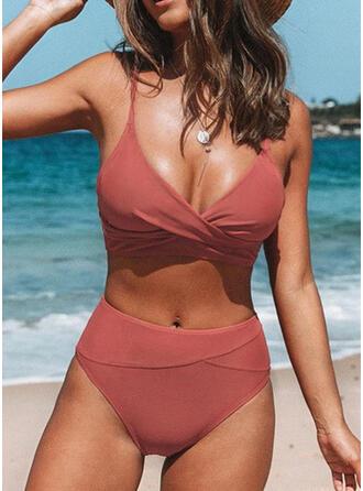 Effen kleur Hoge Taille Riem V-hals Sexy Vintage Vers Bikini's Badpakken