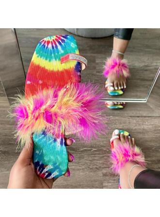 Vrouwen Stof Flat Heel Sandalen Flats Peep Toe Slippers Teen Ring met Hol-out Tassel schoenen