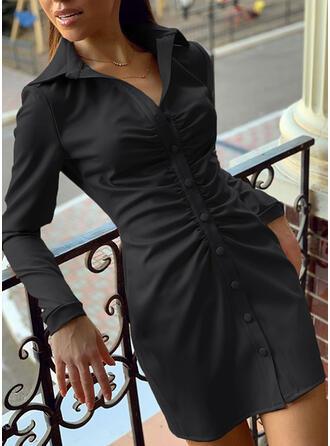 Solide Lange Mouwen Koker Boven de knie Zwart jurkje/Elegant Shirt Jurken