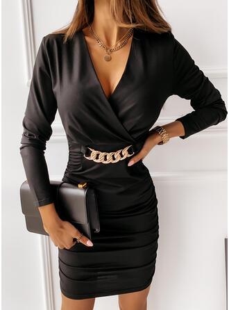 Solide Lange Mouwen Bodycon Boven de knie Zwart jurkje/Elegant Jurken