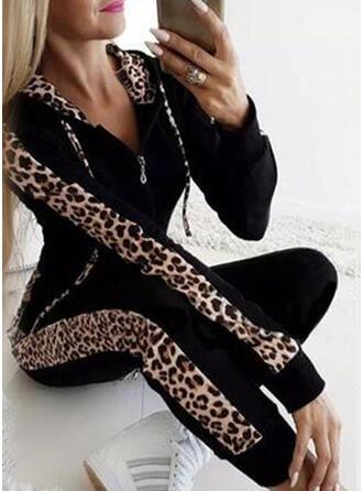 Lapwerk Grote maat luipaard Casual Sexy sportieve Pakken