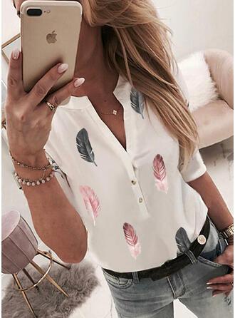 Print V-hals 1/2 Mouwen Dichtknopen Casual Overhemd