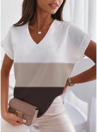Color Block V-hals Korte Mouwen T-shirts