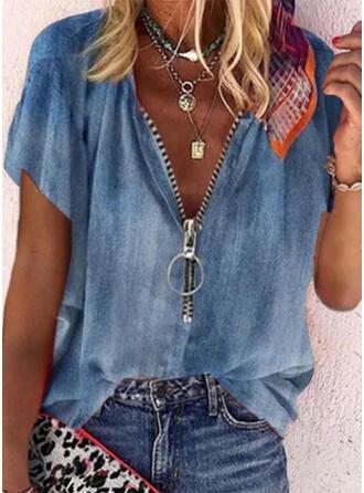Solide V-hals Korte Mouwen Casual Jean Overhemd