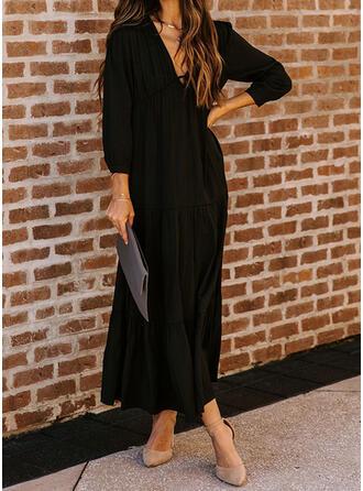 Solide Lange Mouwen Shift Zwart jurkje/Elegant Maximum Jurken