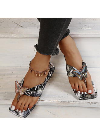 Vrouwen PU Flat Heel Sandalen Flats Peep Toe Flip Flops Slippers met Hol-out Kriskras schoenen