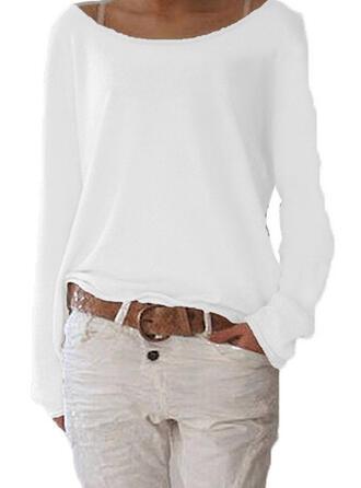 Solide Ronde Hals Lange Mouwen Casual Basic Overhemd