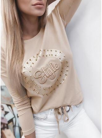 Met Kralen Figuur Print Ronde Hals Lange Mouwen T-shirts