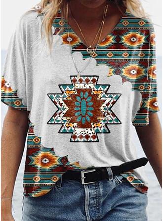 Print V-hals Korte Mouwen T-shirts