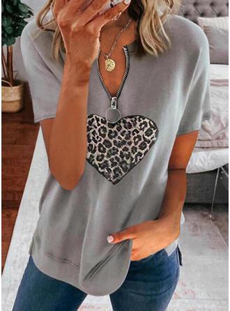 luipaard Hart V-hals Korte Mouwen Casual Overhemd