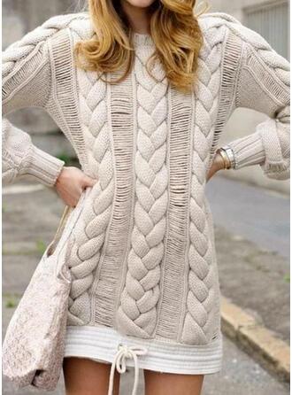 Solide Kabel-gebreid Ronde Hals Casual Lang Sweaterjurk