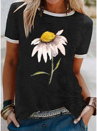 Bloemen Print Ronde Hals Korte Mouwen T-shirts