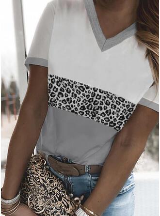 Color Block luipaard V-hals Korte Mouwen T-shirts