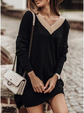Kleurblok V-hals Casual Lang Sweaterjurk