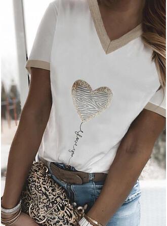 Figuur Hart Print V-hals Korte Mouwen T-shirts