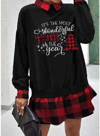 Print/Plaid Lange Mouwen Shift Boven de knie Kerstmis/Casual Sweatshirts Jurken