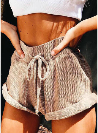 Solide Boven de knie Boho Casual Broodmager Shorts