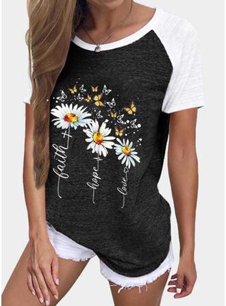 Dier Afdrukken Color Block Figuur Bloemen Ronde Hals Korte Mouwen T-shirts