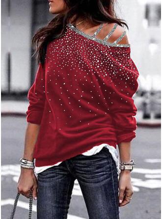 pailletten One Shoulder Lange Mouwen Sweatshirts