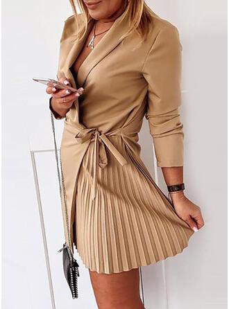 Solide Lange Mouwen Koker Boven de knie Zwart jurkje/Casual/Elegant Wrap Jurken