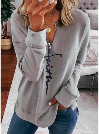 Print Figuur V-hals Lange Mouwen Sweatshirts