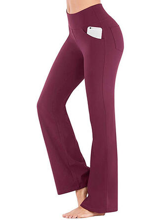 Shirred Casual Elegant Sexy Broodmager Solide Leggings