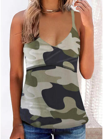 Camouflage Print Spaghetti Mouwloos Topjes