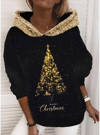 Print pailletten Figuur Lange Mouwen Kerst Sweatshirt