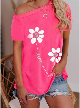 Figuur Bloemen Print One-shoulder Korte Mouwen T-shirts
