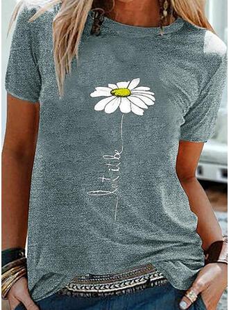 Figuur Bloemen Print Ronde Hals Korte Mouwen T-shirts