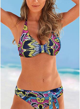 Print push up V-hals Strapless retro Casual Bikini's Badpakken