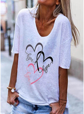 Figuur Hart Print V-hals 1/2 Mouwen T-shirts