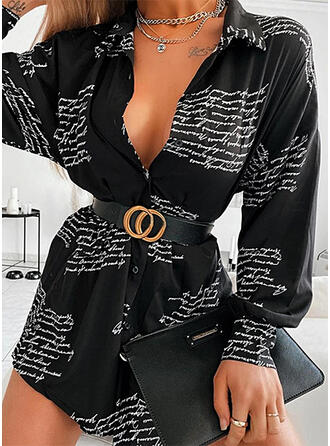 Print Lange Mouwen Koker Boven de knie Casual Shirt Jurken
