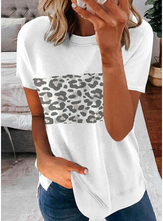 luipaard Print Ronde Hals Korte Mouwen T-shirts