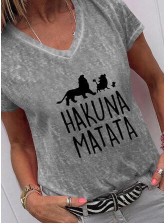 Dier Afdrukken Figuur V-hals Korte Mouwen T-shirts