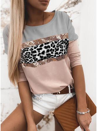 Color Block luipaard pailletten Ronde Hals Lange Mouwen T-shirts