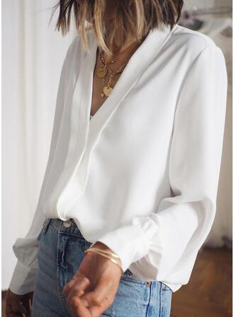 Solide V-hals Lange Mouwen Casual Overhemd