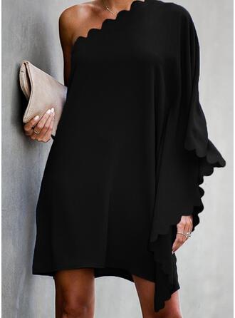 Solide Lange Mouwen/Vleermuis Mouwen Shift Boven de knie Zwart jurkje/Feest Tunieken Jurken
