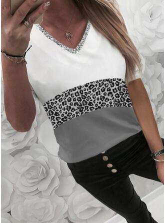 Color Block luipaard pailletten V-hals 1/2 Mouwen T-shirts