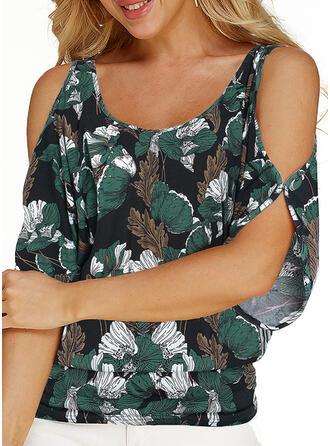 Print Koude schouder 1/2 Mouwen Casual Grote maten Overhemd