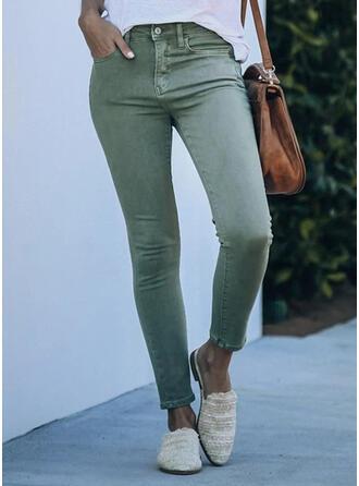 Solide Shirred Elegant Sexy Spijkerbroek