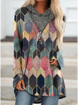 Geometrisch Lange Mouwen Hoodie