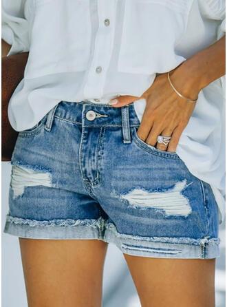 Shirred Grote maat Gescheurd Elegant Gewoon Shorts Spijkerbroek