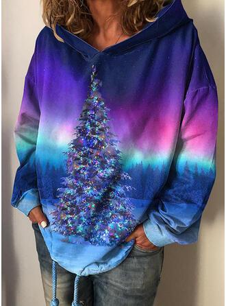 Tie dye kleurstof Bos Lange Mouwen Kerst Sweatshirt