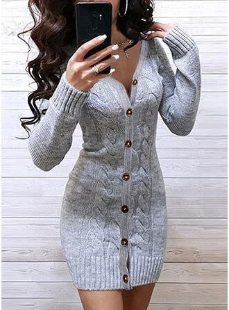 Solide Kabel-gebreid V-hals Casual Lang Slanke Sweaterjurk